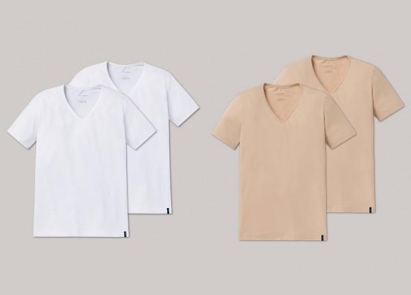 Schiesser Herren kurzarm Shirt mit V-Ausschnitt 2er Pack